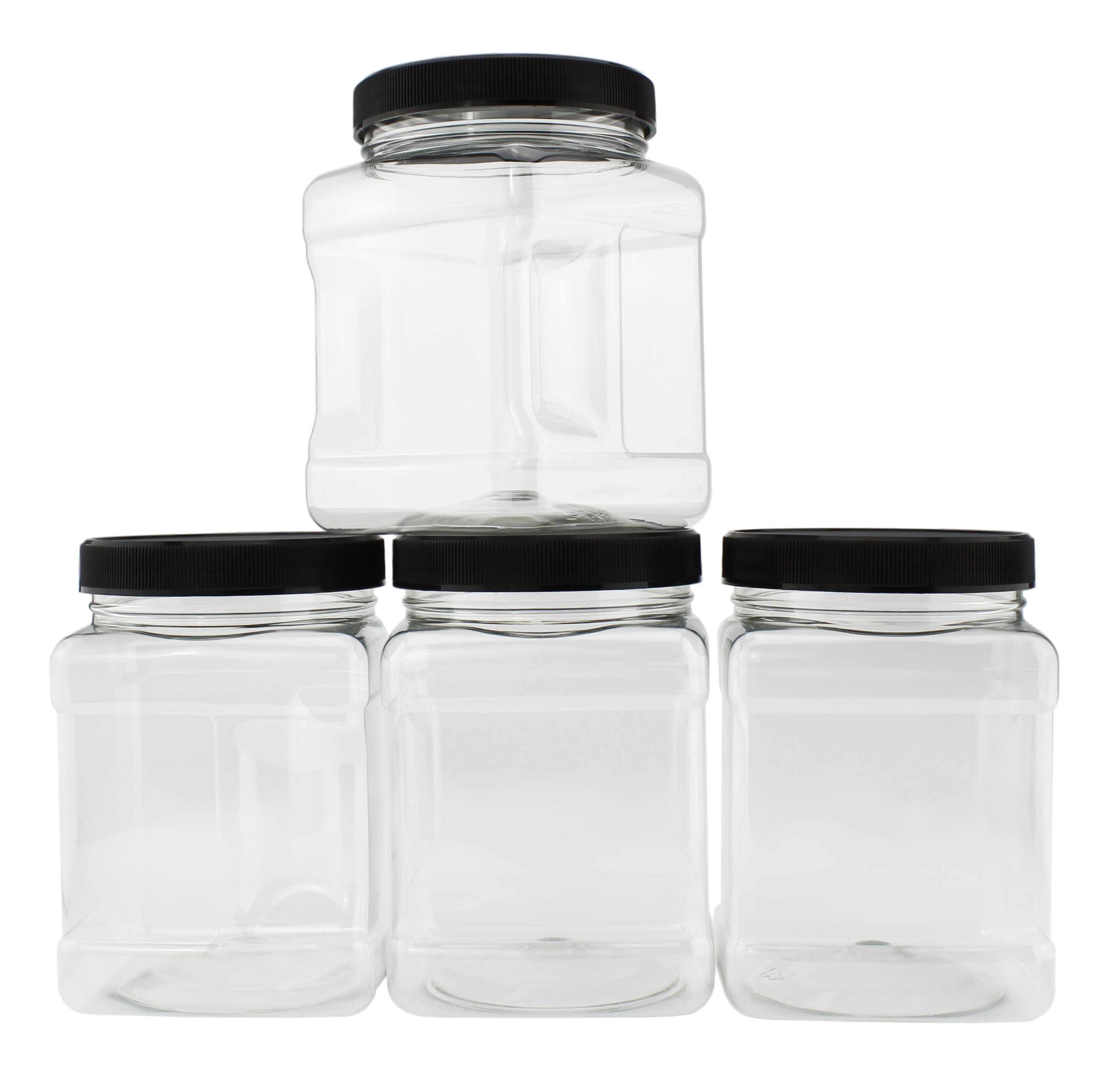B078SF8L4D - 32-Ounce Square Plastic Jars (4-Pack) 2