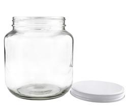B01FMVSXHS - 64oz Clear Wide-mouth Glass Jar, BPA free Food Grade w White Metal Lid (Half Gallon) 1