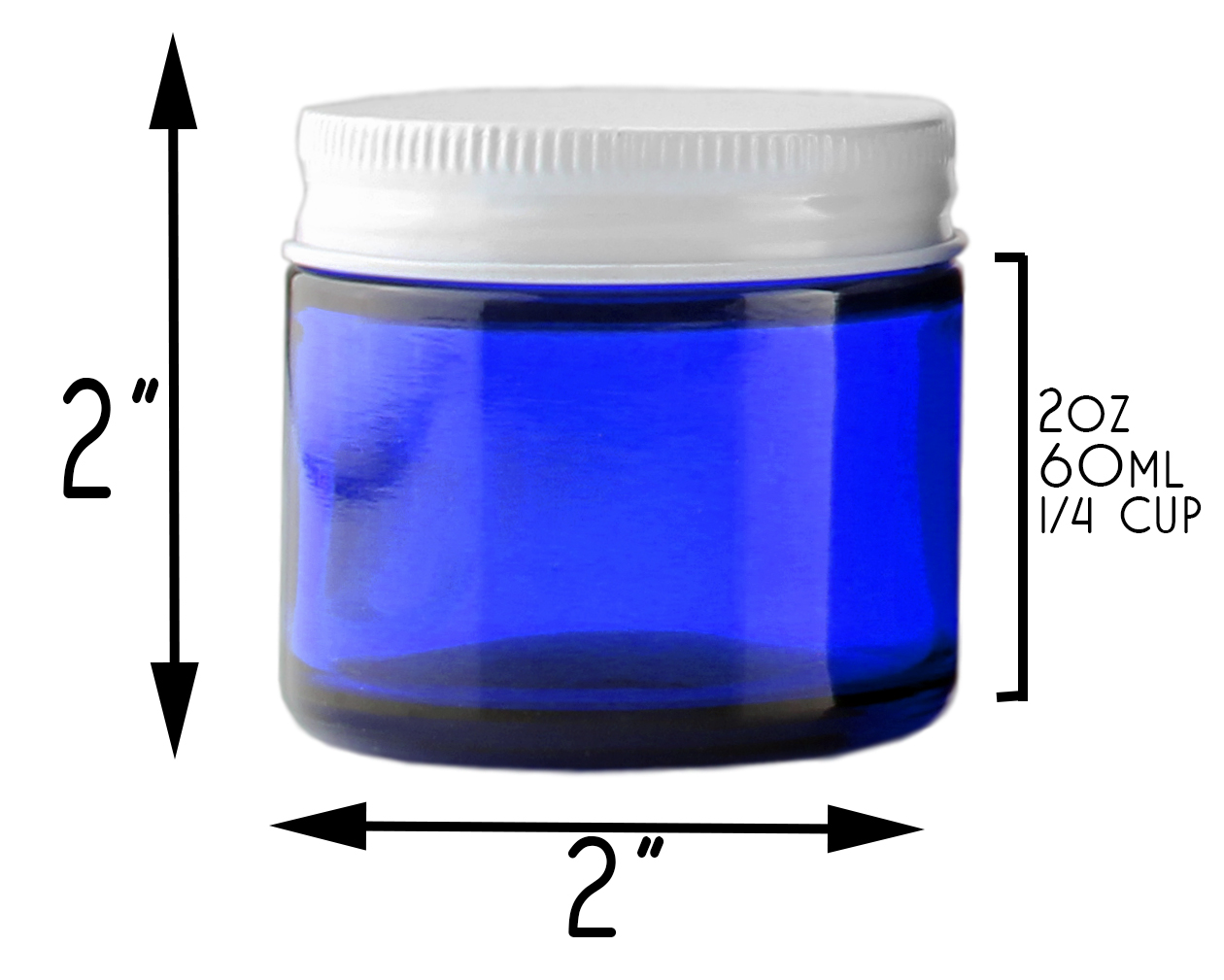 B018SFIGXG - 2 Oz Cobalt Blue Glass Straight Sided Jars, Metal Lids Included, (12 Pack) 4