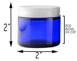 B018SFIGXG - 2 Oz Cobalt Blue Glass Straight Sided Jars, Metal Lids Included, (12 Pack) 4