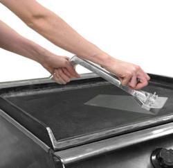 B01N27UPF0 - Heavy Duty Commercial Grade Metal Flat Top Griddle Scraper In Use