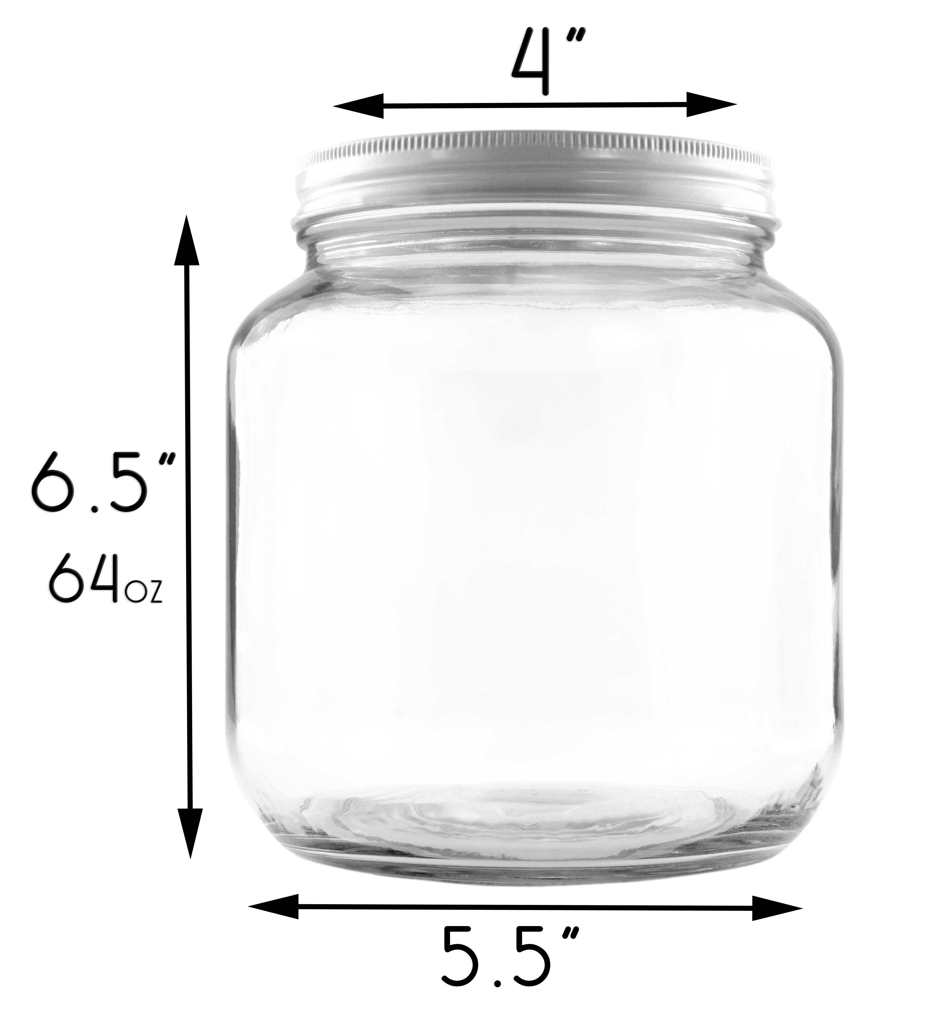 B01FMVSXHS - 64oz Clear Wide-mouth Glass Jar, BPA free Food Grade w White Metal Lid (Half Gallon) 3