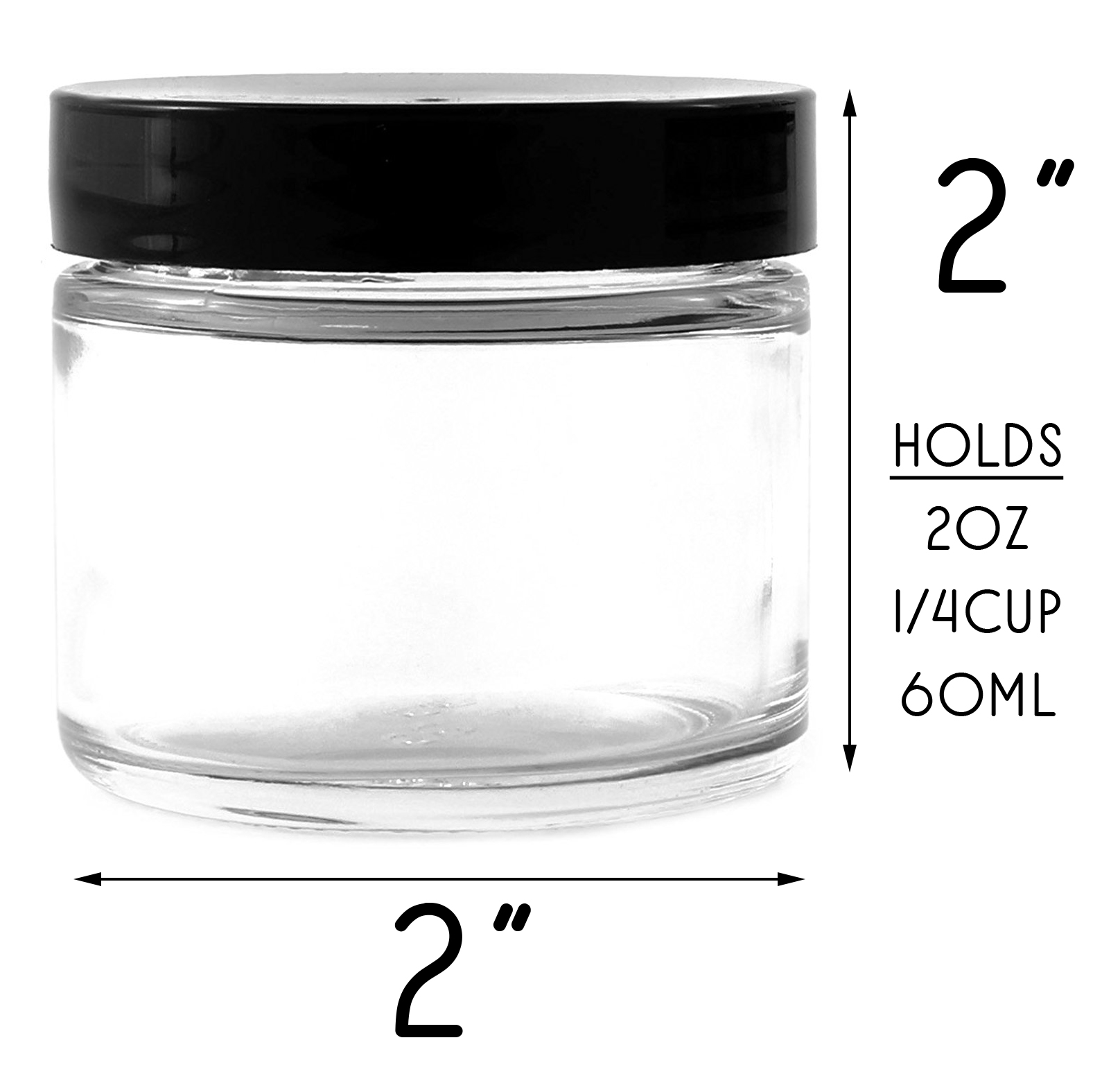 B018SFOZYA - 2oz jars black lids (12pk) - Scale