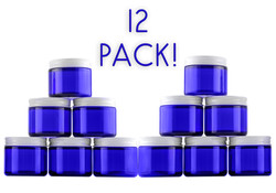 B018SFIGXG - 2 Oz Cobalt Blue Glass Straight Sided Jars, Metal Lids Included, (12 Pack) 2