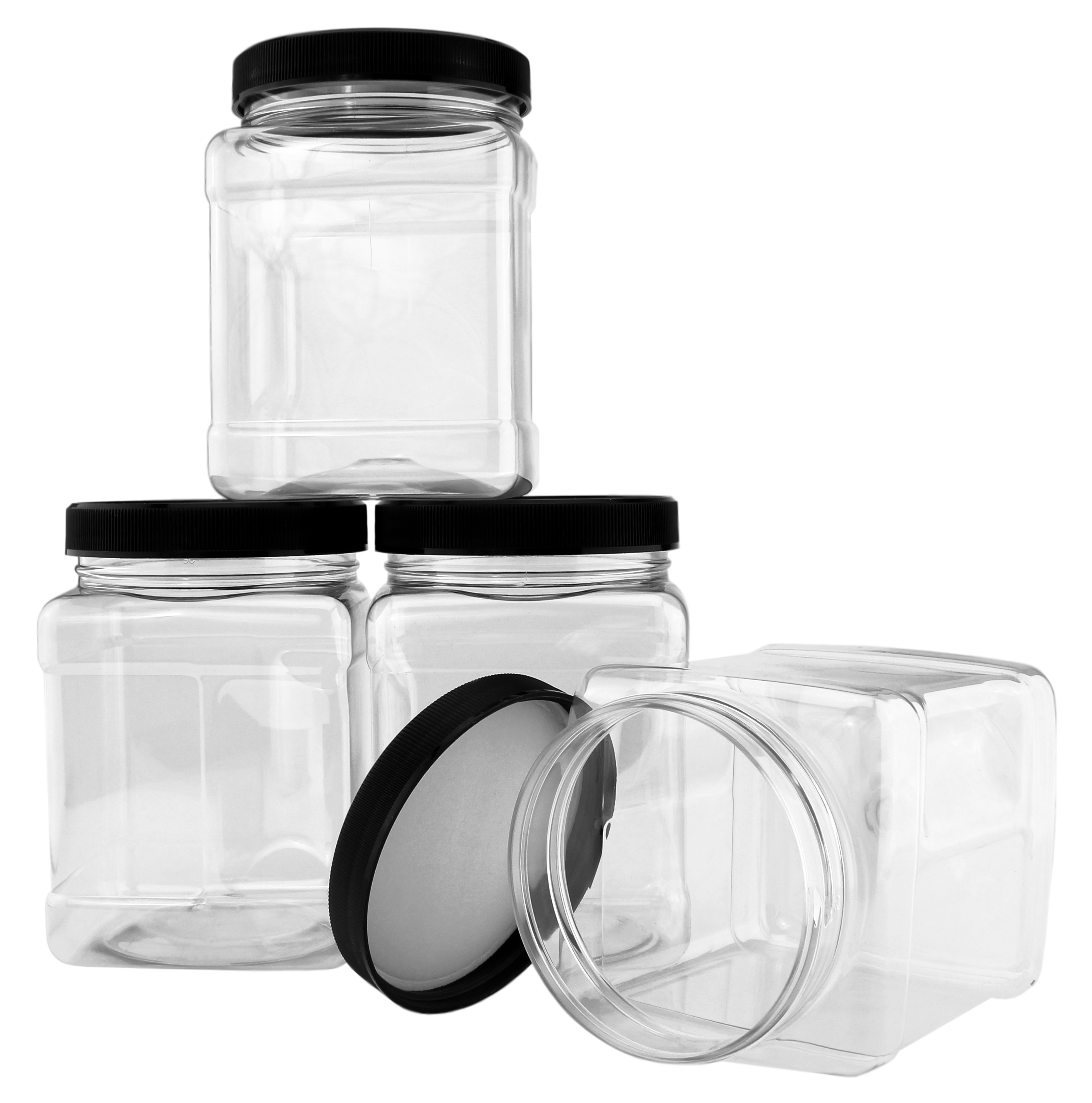 B078SF8L4D - 32-Ounce Square Plastic Jars (4-Pack) 3