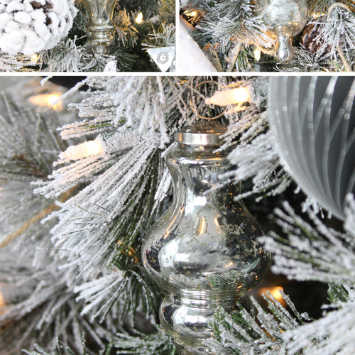 Silver Finials (3pk) - Close Up on Tree.
