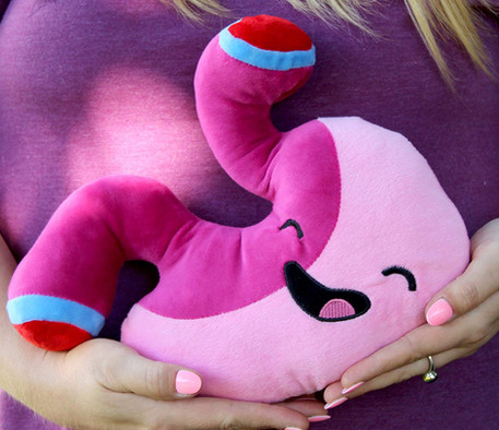 B0761WJTV9 - Barry the Sleeve - Stomach Plush - held in use.jpg