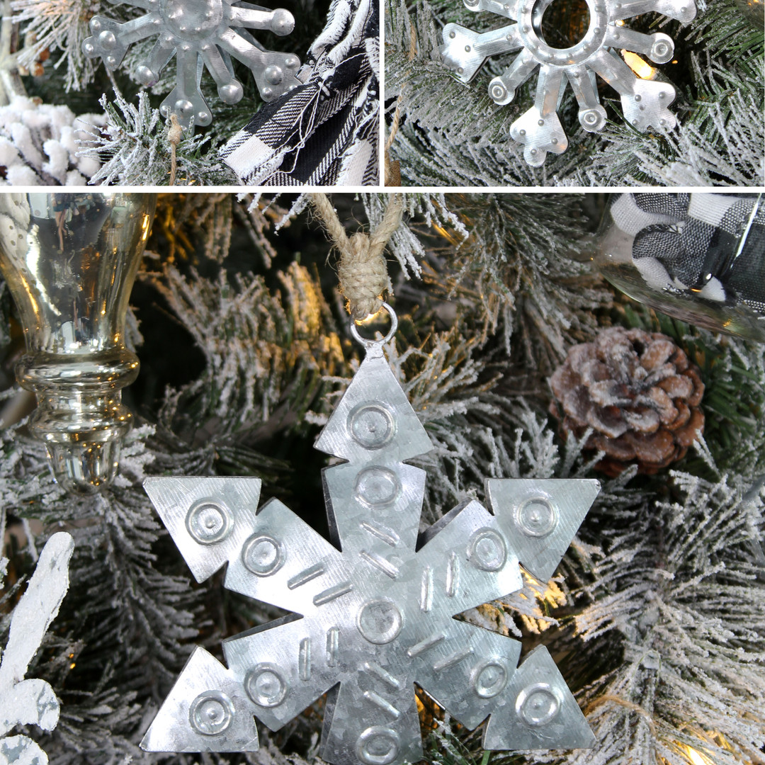 Galvanized Snowflake Ornaments (6pk) - C