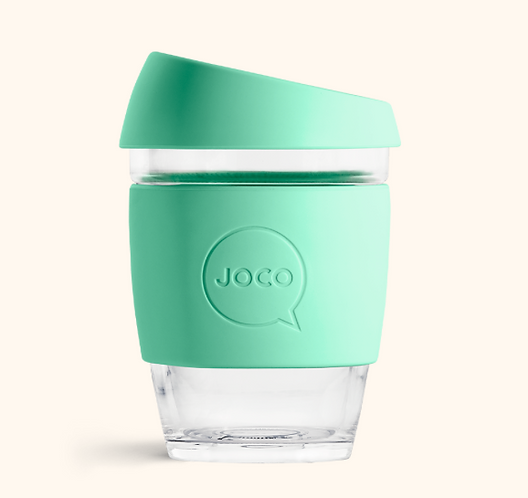 JOCO Reusable Glass Coffee Cup 12oz (Mint)
