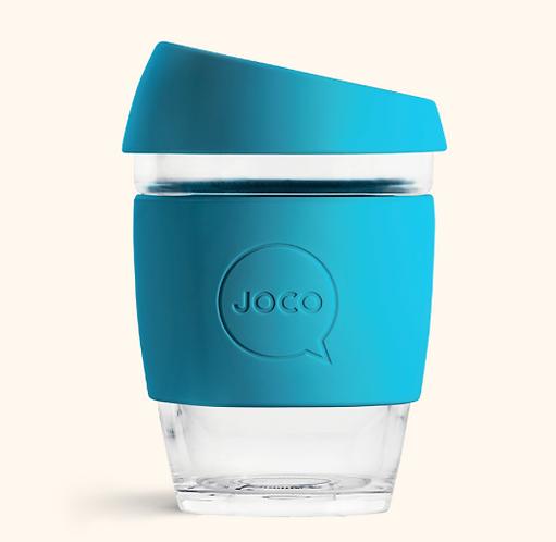 JOCO Reusable Glass Coffee Cup 12oz (Blue)
