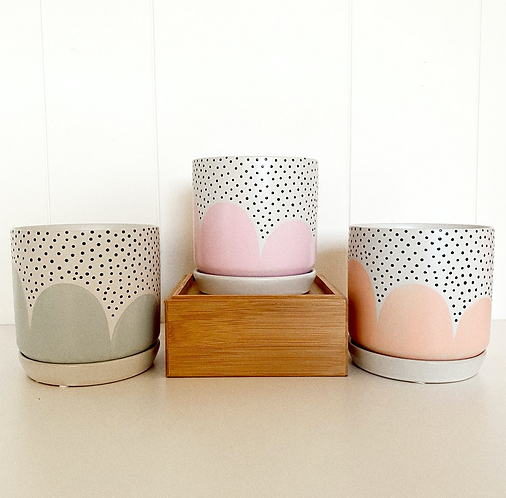 Poppy Seed Planter with Saucer by Hello Lola (Small)