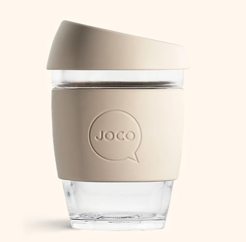 JOCO Reusable Glass Coffee Cup 12oz (Sandstone)