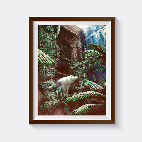 "Kunstdruck ""polarbear and palmtrees"""