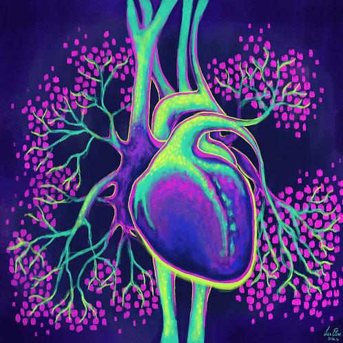 """Kunstdruck """"electric heart"""", 25x25 cm"""