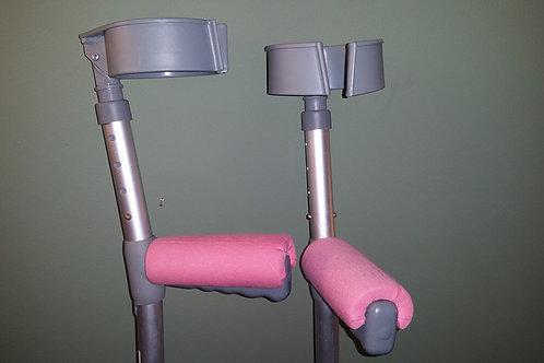 Plain Pink Crutch Handle Covers (Pair)