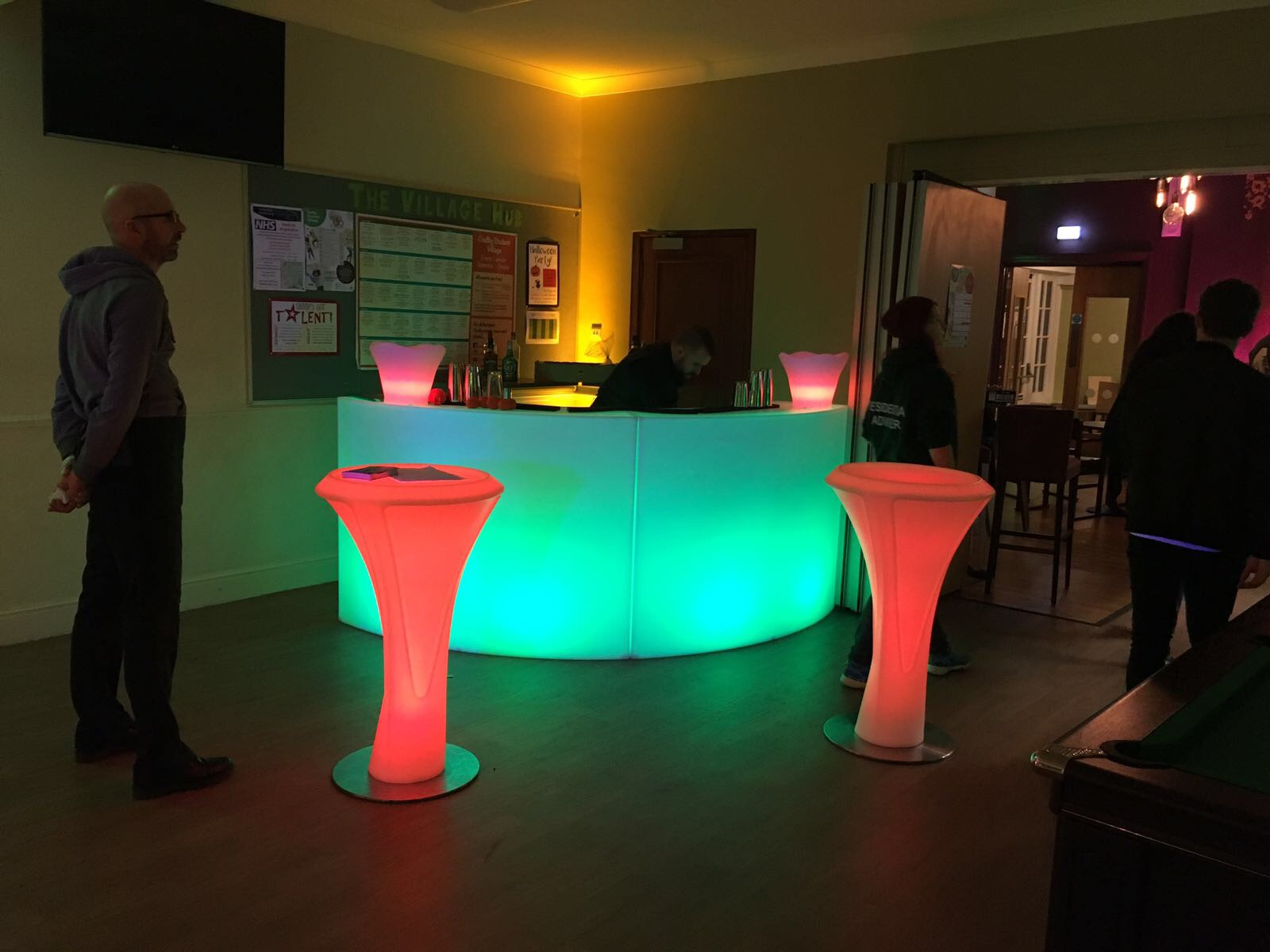 LED Poseur Tables with LED Bar Hire