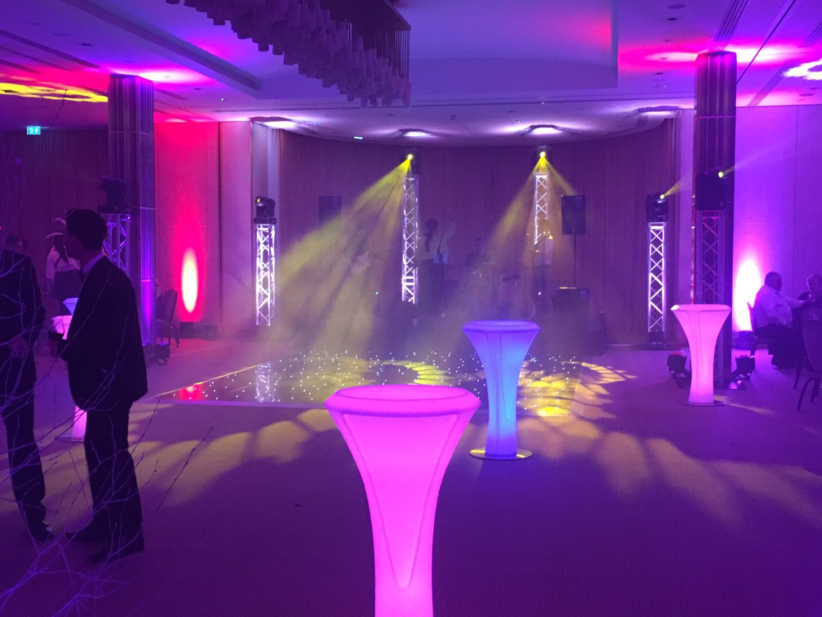 Glowing LED Poseur Table Hire