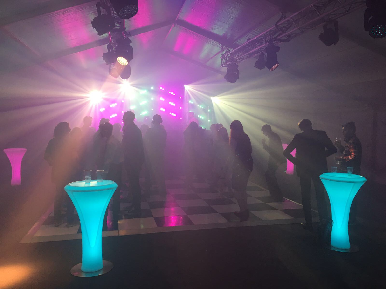 Glowing LED Poseur Tables for Events
