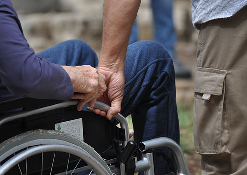 Man on wheel chair after stroke