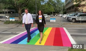 Throwback to 2019 when Councilor Michael Wolfe and I walked the Richmond Minoru Rainbow Crosswalk together!