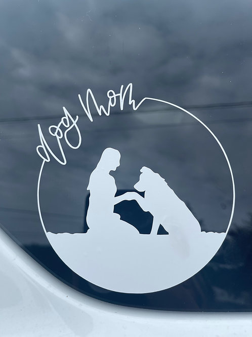 Dog Mom silhouette decal