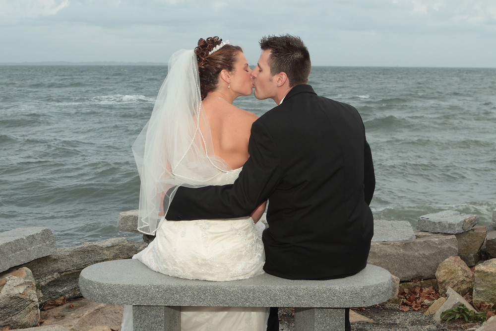 Wedding couple kissing in Groton, Connecticut