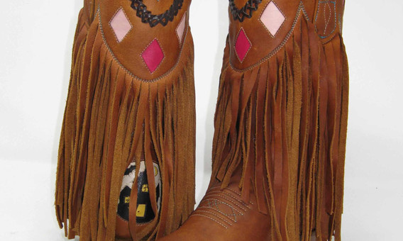 Fringe Boots with Kangaroo Inlay and Leather Lace Collar