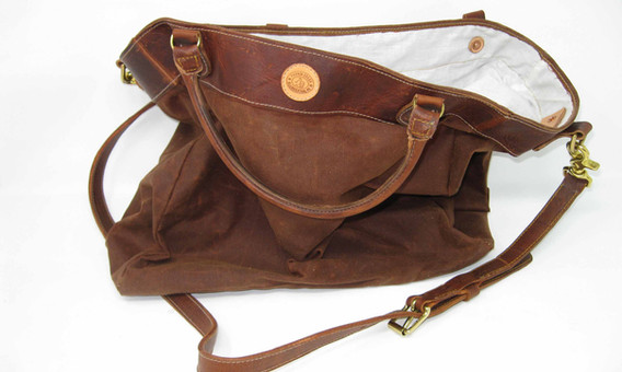 Leather and Waxed Canvas Bag