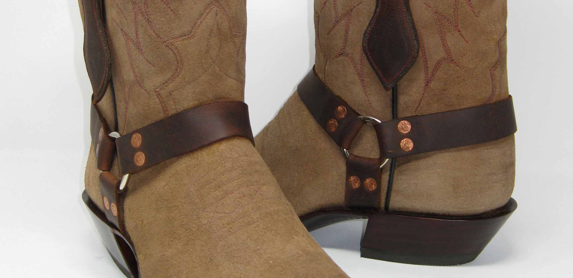 Cowboy/Harness boot, cow rough out and bison trim