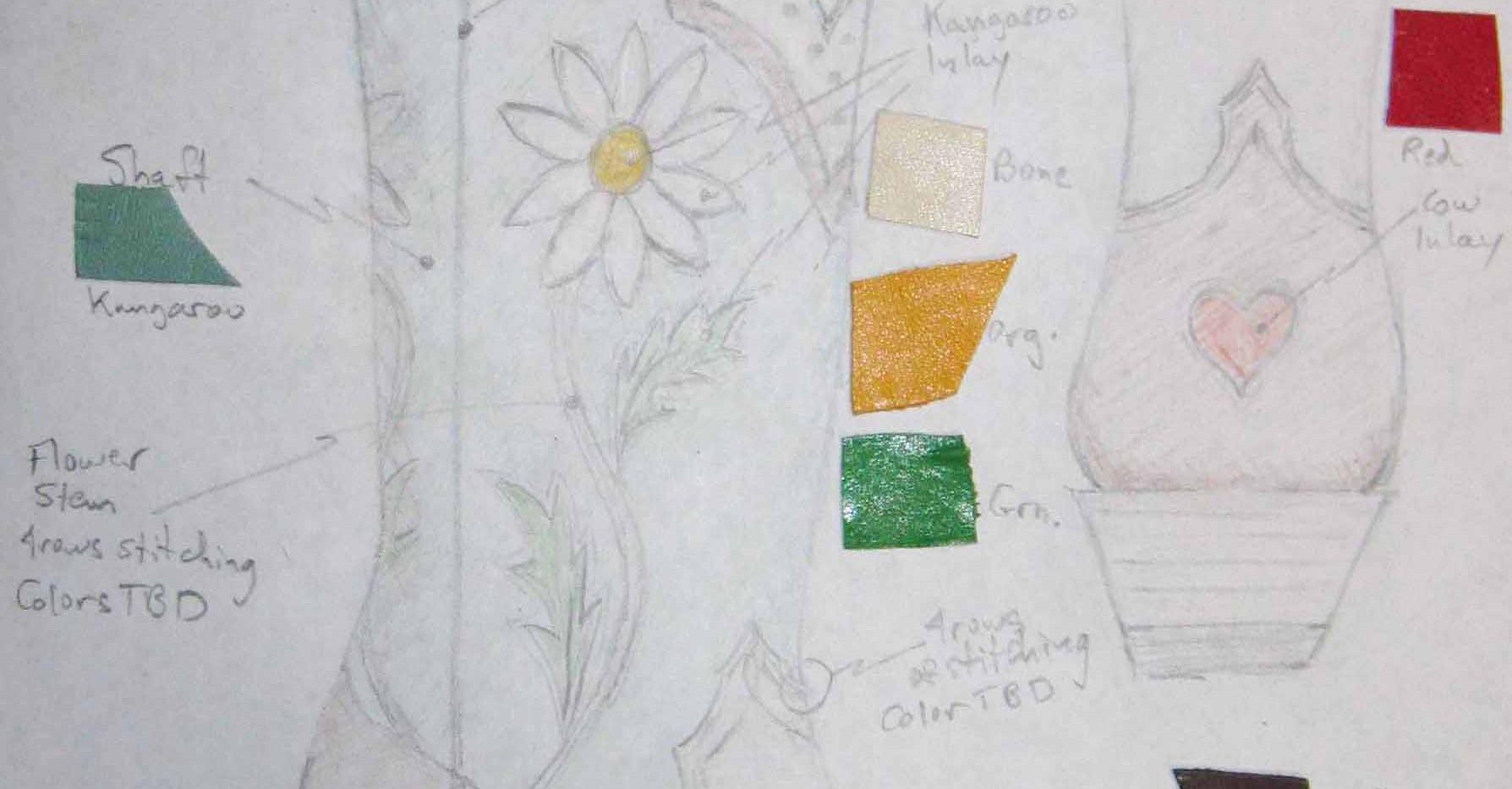 Daisies with heart heel design