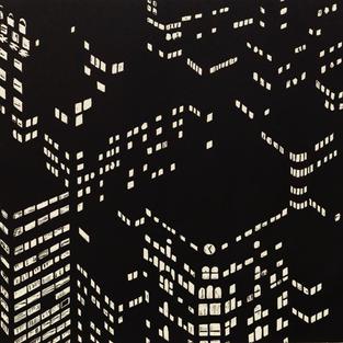 Nightscape Woodcut, 1998