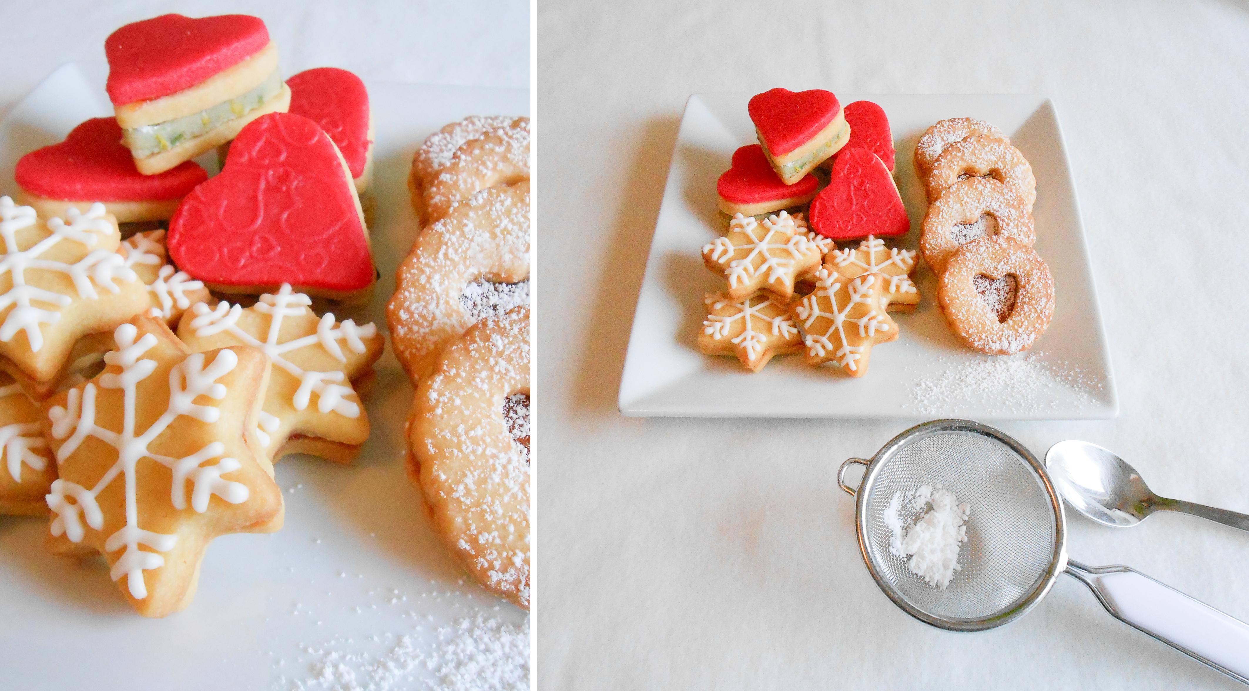 Kekse, Eiweißspritzglasur, Marzipan