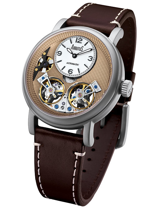 ARBUTUS Double Balance Wheel AR1804SFF, Front View, Brown Dial with White Mini Dial, Brown Leather Strap, Stainless Steel