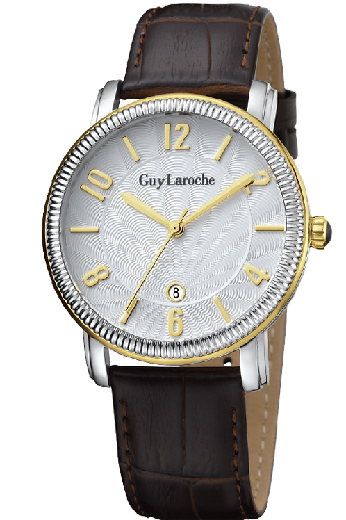 Guy Laroche Gents guilloche white dial with gold indexes and black leather strap