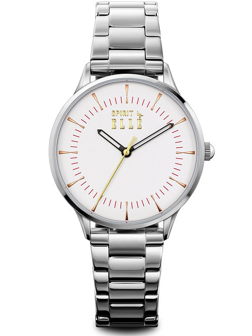 Elle Steel case, White Sandblast dial and bracelet ES20145B05X front view