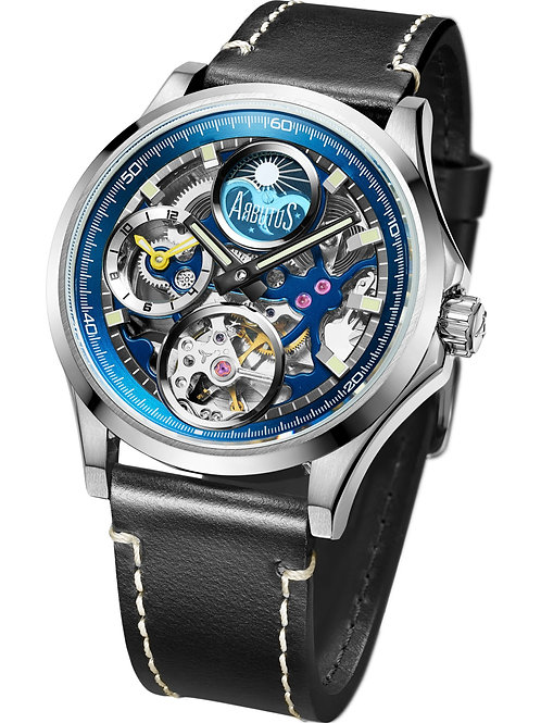 ARBUTUS Dual Time AR1901SUB, Front View, Stainless Steel Case, Blue Dial, Dual Time/Moon Phase, Black Leather Strap
