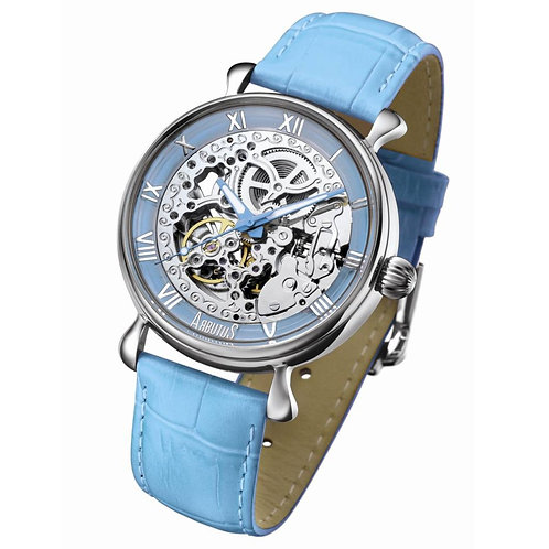 ARBUTUS Skeleton Automatic AR805SUU, Blue Dial with Skeleton Look Dial, Blue Leather Strap, Stainless Steel, 40mm