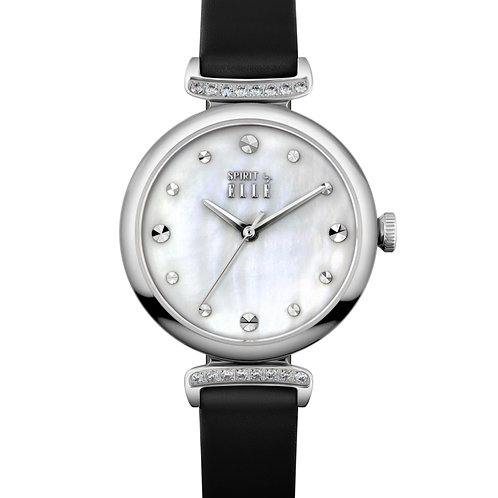 Elle steel case with stone, mother of pearl dial, black strap ES21027S07X front view