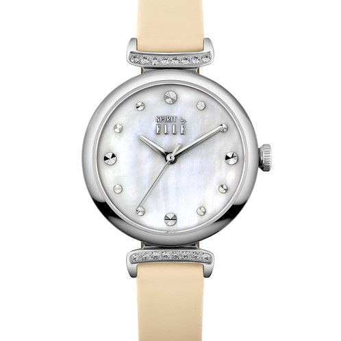 Elle steel case with stone, mother of pearl dial, pink strap ES21027S03X front view
