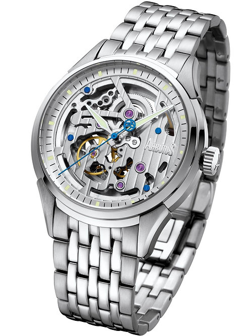 ARBUTUS Skeleton Automatic AR1801SWS, Front View, White Dial with Indices and Jewels, Stainless Steel Case and Bracelet