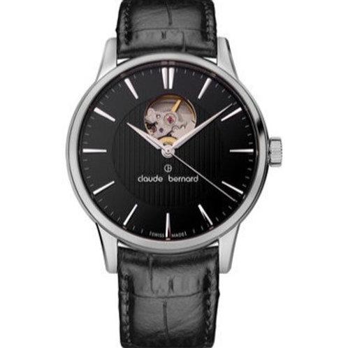 Claude Bernard Classic Automatic Open Heart Black Silver Black CB85017-3-NIN front view