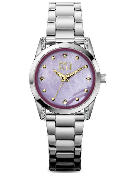 Elle Steel case with Stone Purple MOP with Stone dial and bracelet  ES20143B08X front view