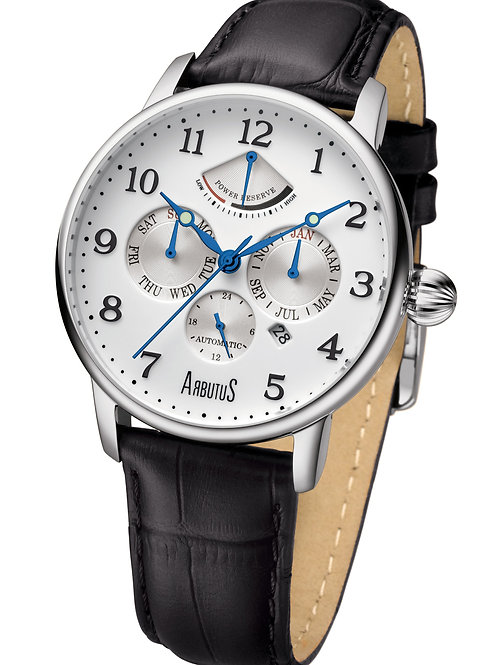 ARBUTUS Power Reserve AR914SWB, White Double Layer with Applied Index, Power Reserve/Multi-Function/Day, Black Leather Strap