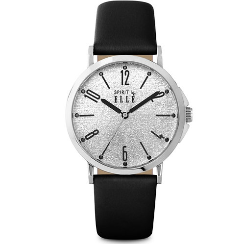 Elle gliter dial with black strap ES20081S09