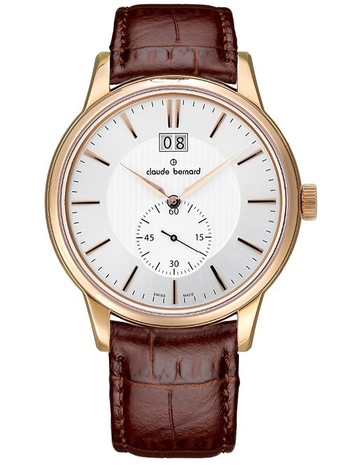 Claude Bernard Classic Big Date Small Second Silver|Yellow|Brown CB64005-37R-AIR front view