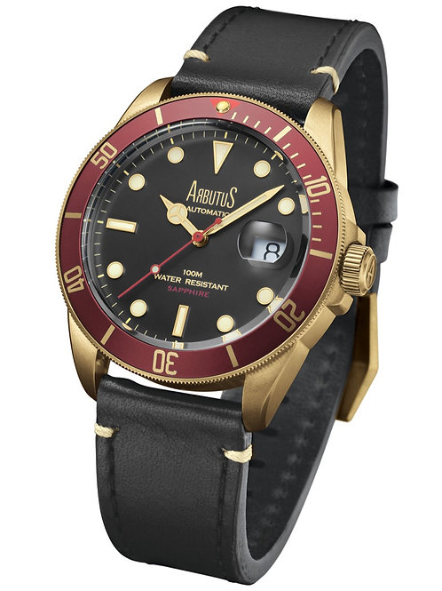 ARBUTUS Bronze ARBR01GRB, Front View, Bronze with Red Unidirectional Rotating Bezel, Black Dial, Black Leather Strap