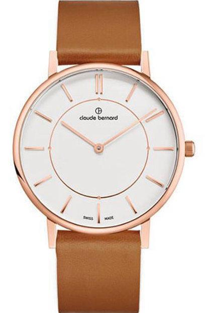 Claude Bernard Slim Line Two Hands Silver|Pink|Brown CB20219-37RC-AIRR