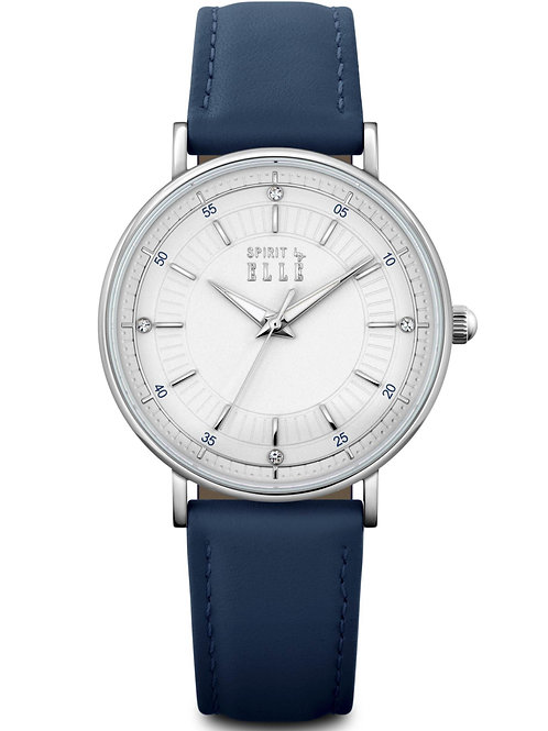 Elle white dial silver index in blue leather strap ES20135B02x front view