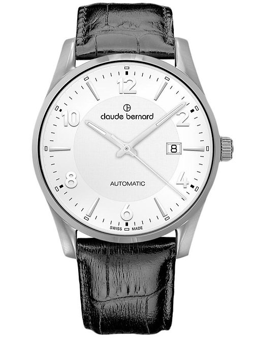 Claude Bernard Classic Automatic Date Silver|Silver|Black CB80092-3-AIN front view