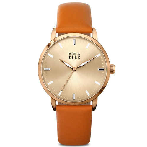 Elle rose gold sunray dial and case with orange leather strap ES20103S04 front view